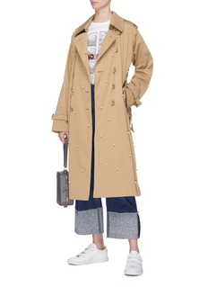 Tu Es Mon Trésor Faux pearl embellished belted faux fur lined trench coat