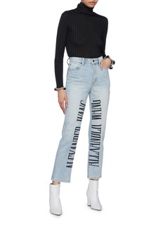 Alexander Wang  Logo embroidered cropped jeans