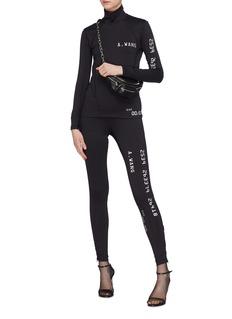 Alexander Wang  Zip cuff credit card print scuba jersey leggings