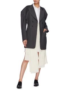 Akiko Aoki Pleated panel asymmetric contrast topstitching skirt