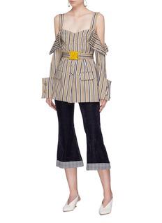 Silvia Tcherassi 'Jack' belted stripe drape sleeve cold shoulder top