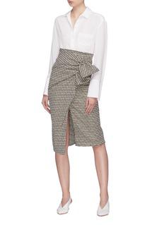 Silvia Tcherassi 'Stromboli' ruched ruffle split tweed skirt