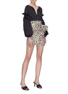 Silvia Tcherassi 'Willow' ruched ruffle leopard print split skirt