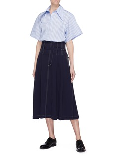 Shushu/Tong Ruffle hem wide short sleeve stripe shirt