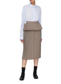 Shushu/Tong Peplum waist pleated houndstooth skirt