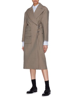 SHUSHU/TONG Oversized lapel clip houndstooth coat