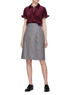 Shushu/Tong Ruffle sleeve velvet polo shirt