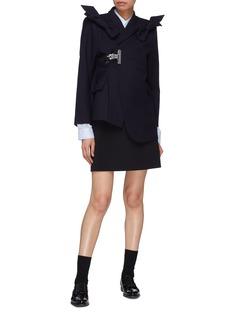 Shushu/Tong Bow shoulder lapel clip asymmetric wool twill jacket