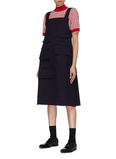 Shushu/Tong Asymmetric flap pocket pinafore dress
