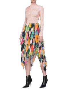 Richard Quinn Floral print velvet turtleneck top