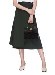 RODO Velvet panel leather satchel bag