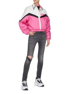SIRLOIN 'Born2B' colourblock chevron half button placket puffer jacket