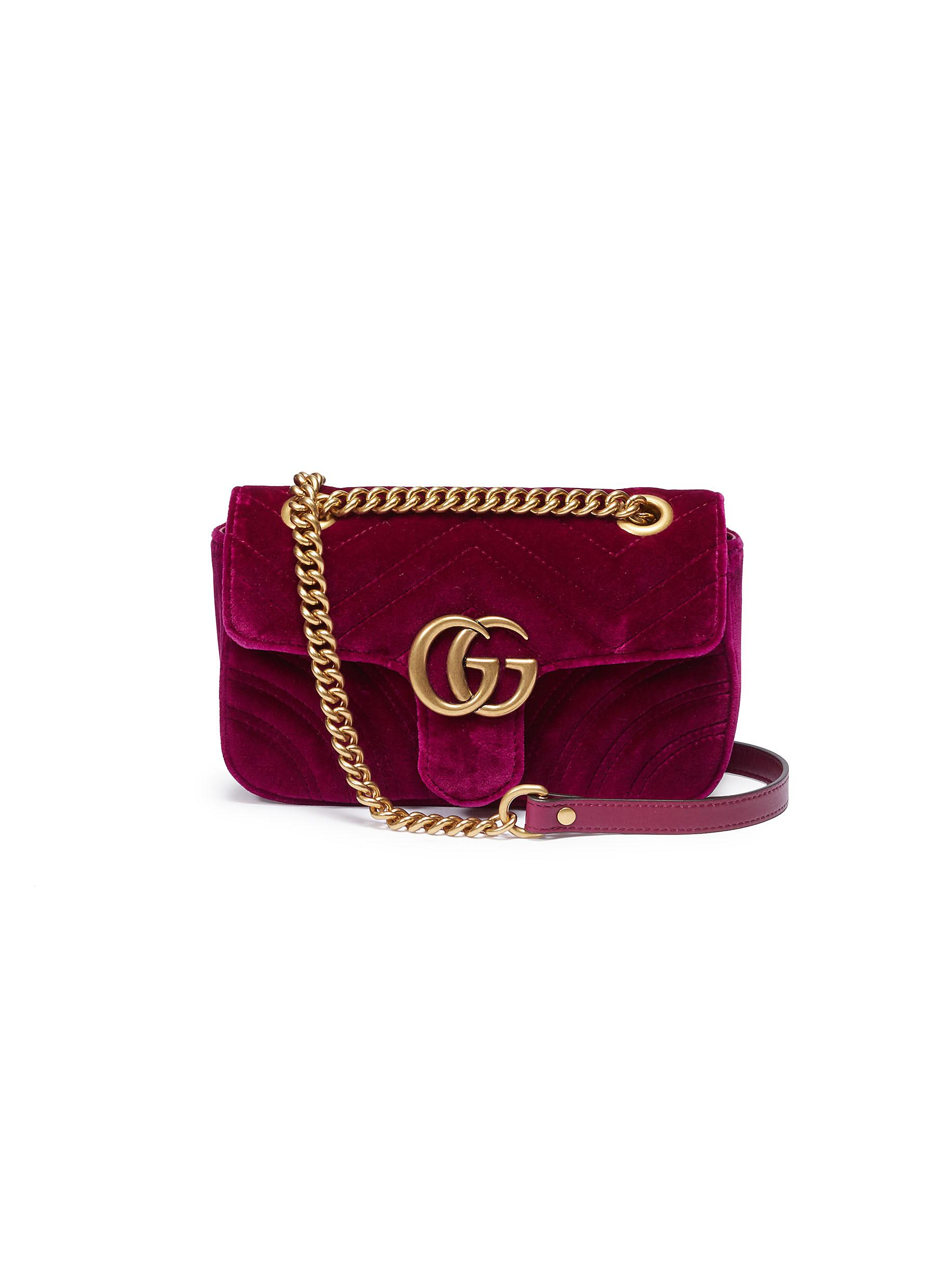 7d200a8e878551 GUCCI | 'GG Marmont' mini quilted velvet crossbody bag | Women ...