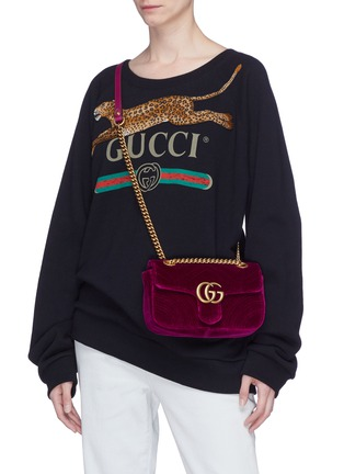 fa4bb5ddf161 Figure View - Click To Enlarge - GUCCI - 'GG Marmont' mini quilted velvet