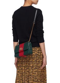 Gucci 'Cestino' Web stripe woven wicker small crossbody bag