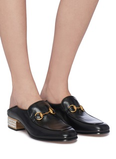 Gucci Glass crystal heel leather step-in horsebit loafer pumps