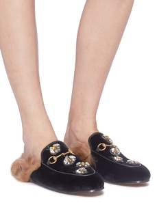 Gucci 'Princetown' glass crystal bee lamb fur velvet slide loafers