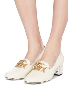 Gucci GG logo leather loafer pumps