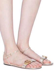 Gucci 'GG Marmont' cracked leather sandals