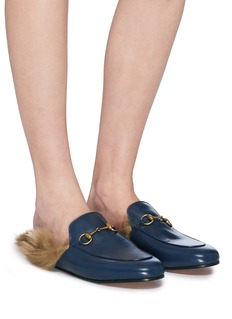 Gucci 'Princetown' lamb fur leather slide loafers
