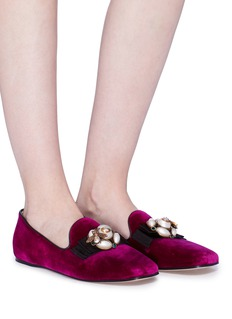 Gucci 'Etoile' bow embellished velvet loafers