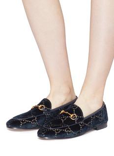 Gucci 'Jordaan' GG embroidered horsebit velvet loafers