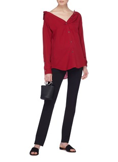 Theory 'Tamale' off-shoulder silk georgette shirt