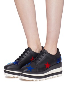 Stella McCartney 'Sneak-Elyse' star patch faux leather platform Derbies
