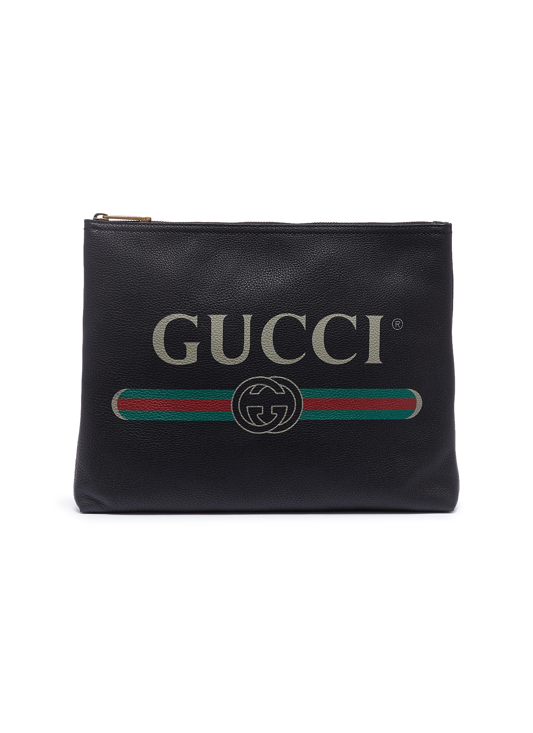 697645957a7 Main View - Click To Enlarge - Gucci - Logo print medium leather zip pouch
