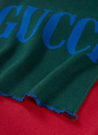 Detail View - Click To Enlarge - Gucci - Logo stripe wool silk scarf