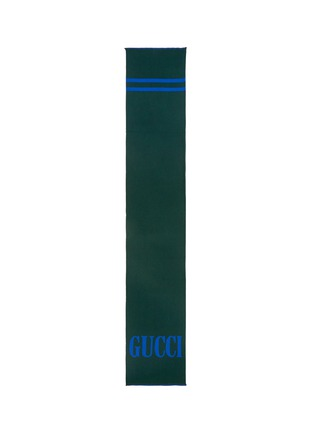 Main View - Click To Enlarge - Gucci - Logo stripe wool silk scarf