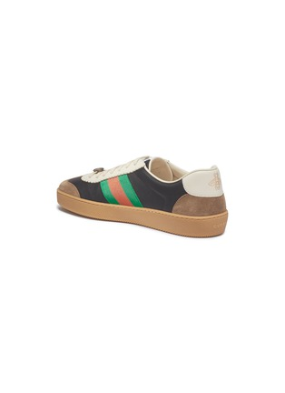 Detail View - Click To Enlarge - GUCCI - Web stripe leather and suede sneakers
