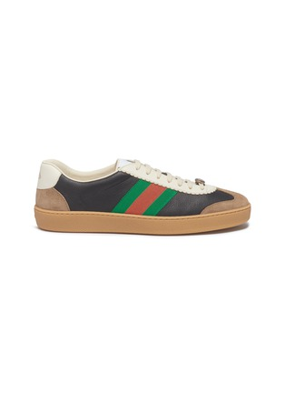 Main View - Click To Enlarge - GUCCI - Web stripe leather and suede sneakers