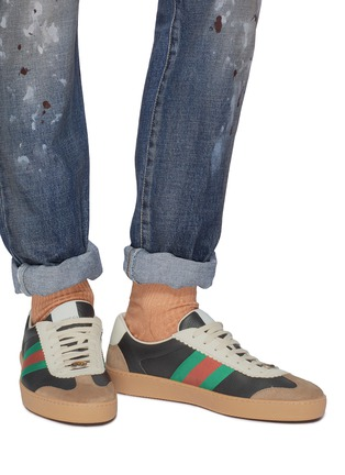 Figure View - Click To Enlarge - GUCCI - Web stripe leather and suede sneakers