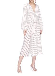 Nicholas Buttoned split panelled stripe skirt