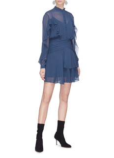 Nicholas Ruched waist ruffle silk crepe dress