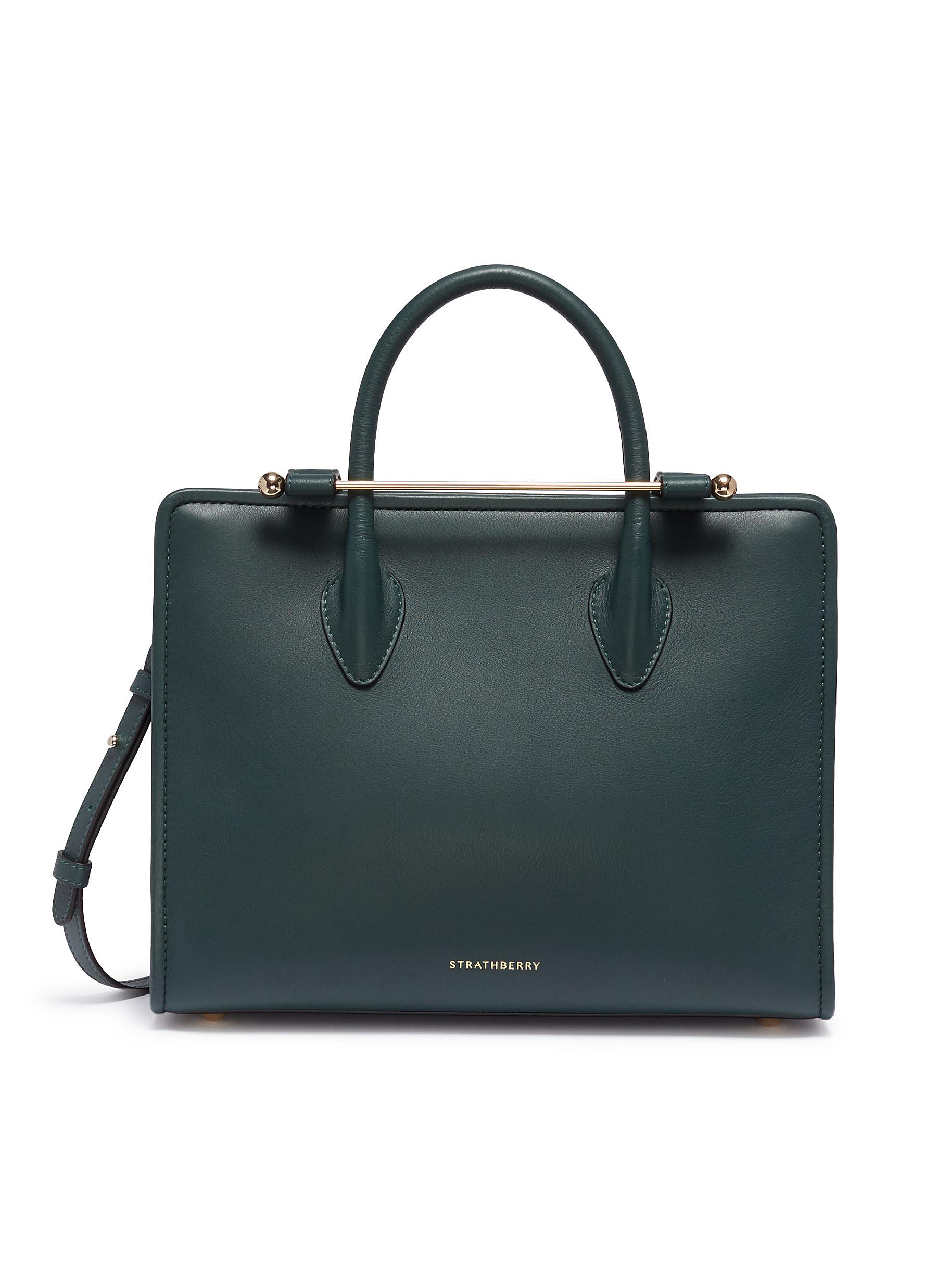 Strathberry Midi Calfskin Leather Convertible Tote In Bottle Green