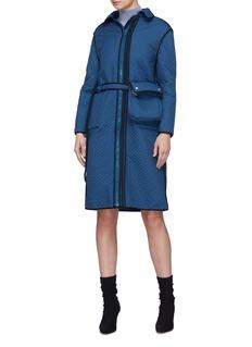 Fengyi Tan Detachable bum bag quilted reversible velour coat