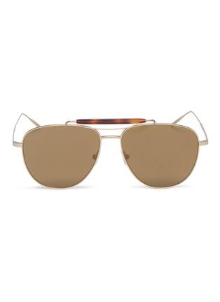 Main View - Click To Enlarge - TOMAS MAIER - Tortoiseshell brow bar metal aviator sunglasses