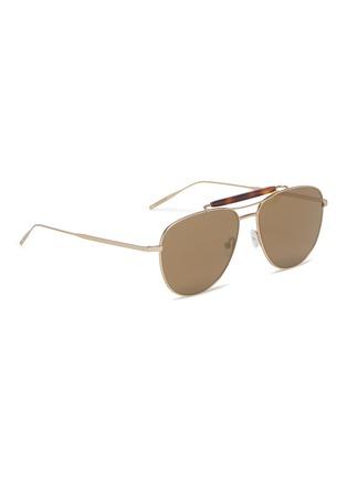 Figure View - Click To Enlarge - Tomas Maier - Tortoiseshell brow bar metal aviator sunglasses