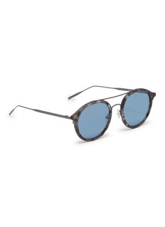 Tomas Maier Metal temple layered acetate round aviator sunglasses