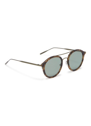 Figure View - Click To Enlarge - TOMAS MAIER - Metal temple layered acetate round aviator sunglasses