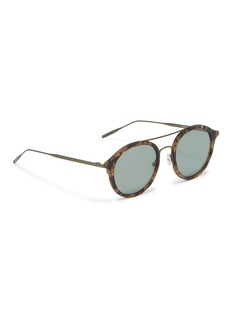 Tomas Maier Metal temple layered acetate round aviator sunglasses