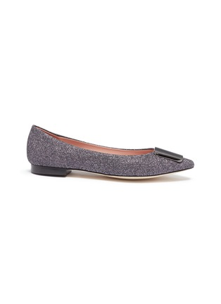 Main View - Click To Enlarge - PEDDER RED - 'Jamie' metal plaque glitter lamé skimmer flats