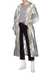 Dawei Drawcord waist metallic windbreaker coat