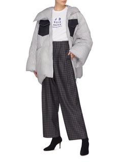 Dawei Denim flap pocket asymmetric zip stripe puffer jacket