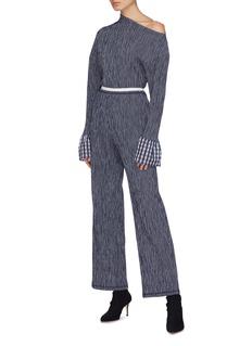 Dawei Gingham check cuff wool-cotton one-shoulder seersucker bodysuit