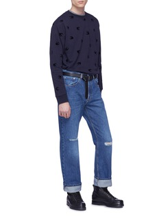 McQ Alexander McQueen Swallow velvet flock print sweatshirt