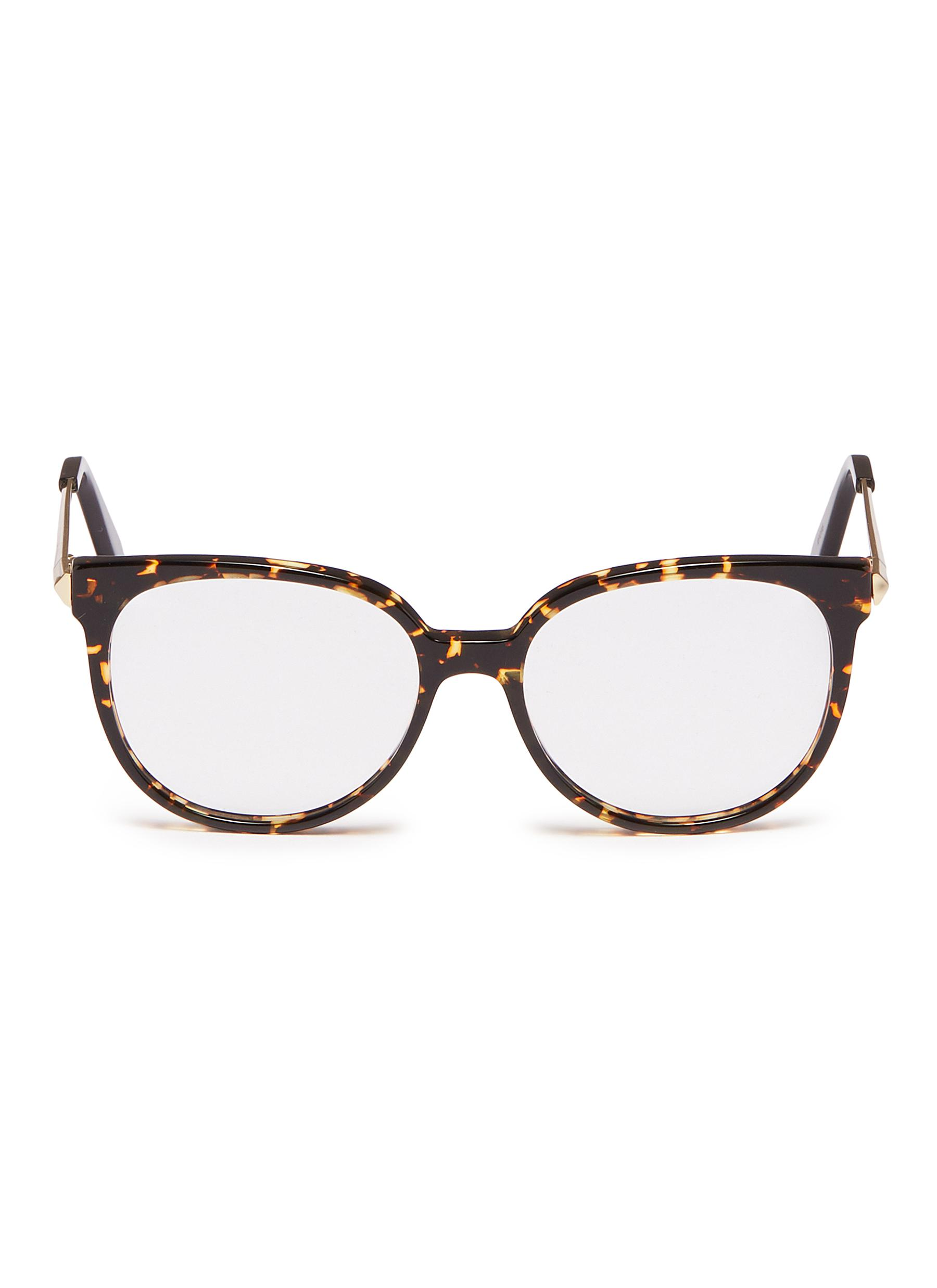 848402fe059d Main View - Click To Enlarge - Victoria Beckham - Metal temple acetate  round optical glasses