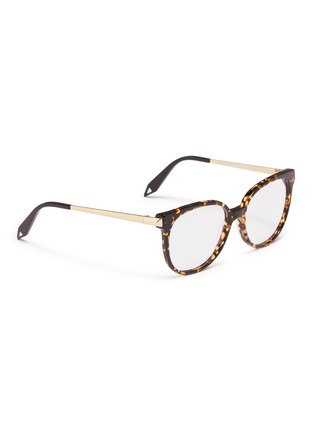 Figure View - Click To Enlarge - VICTORIA BECKHAM - Metal temple acetate round optical glasses